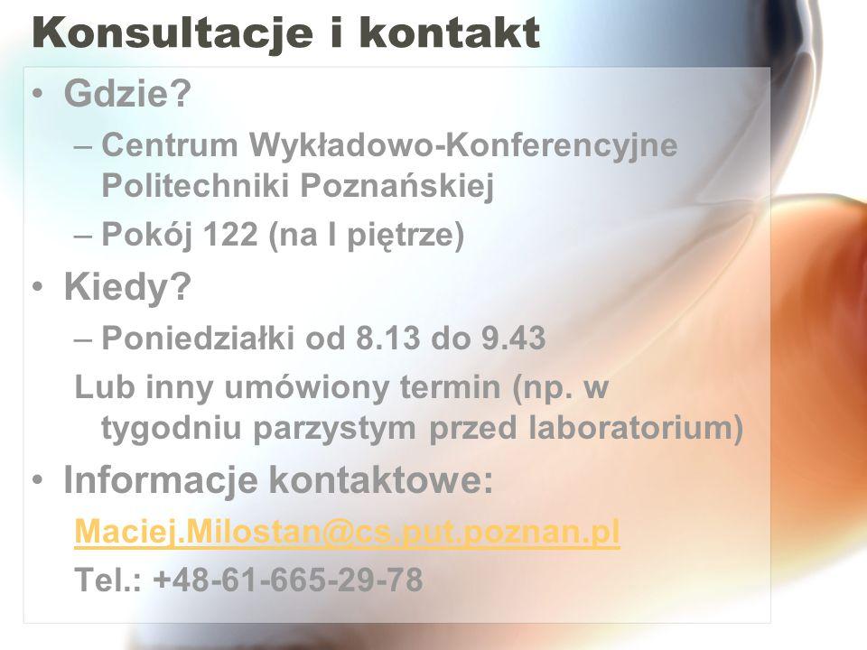 Konsultacje i kontakt Gdzie Kiedy Informacje kontaktowe: