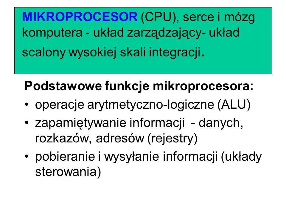 MIKROPROCESOR (CPU), serce i mózg komputera - układ zarządzający- układ scalony wysokiej skali integracji.