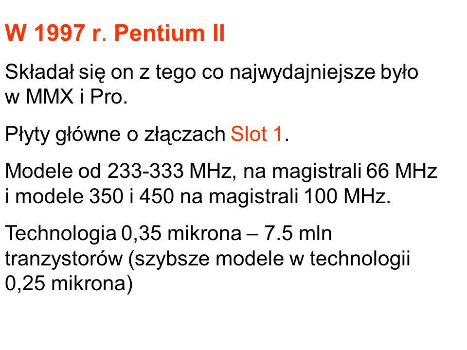 W 1997 r. Pentium II Składał się on z tego co najwydajniejsze było w MMX i Pro. Płyty główne o złączach Slot 1.