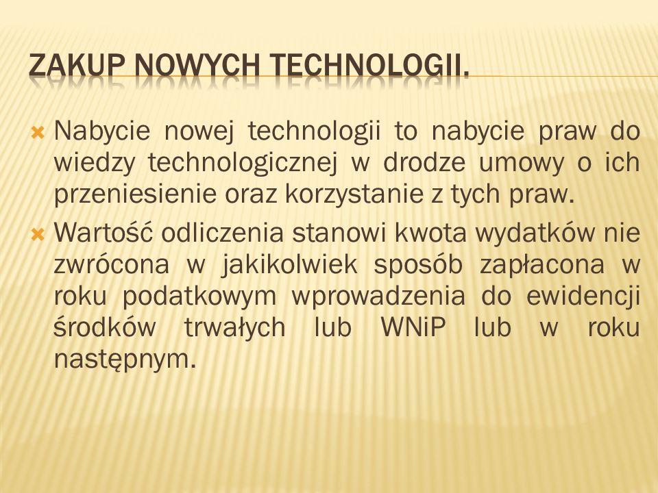 Zakup nowych technologii.