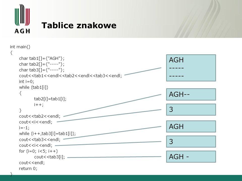 Tablice znakowe AGH ----- AGH-- 3 AGH 3 AGH -