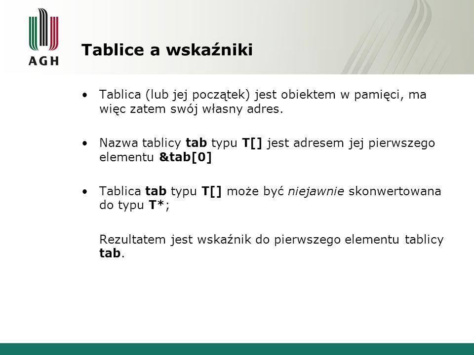 Tablice a wskaźniki Tablica (lub jej początek) jest obiektem w pamięci, ma więc zatem swój własny adres.