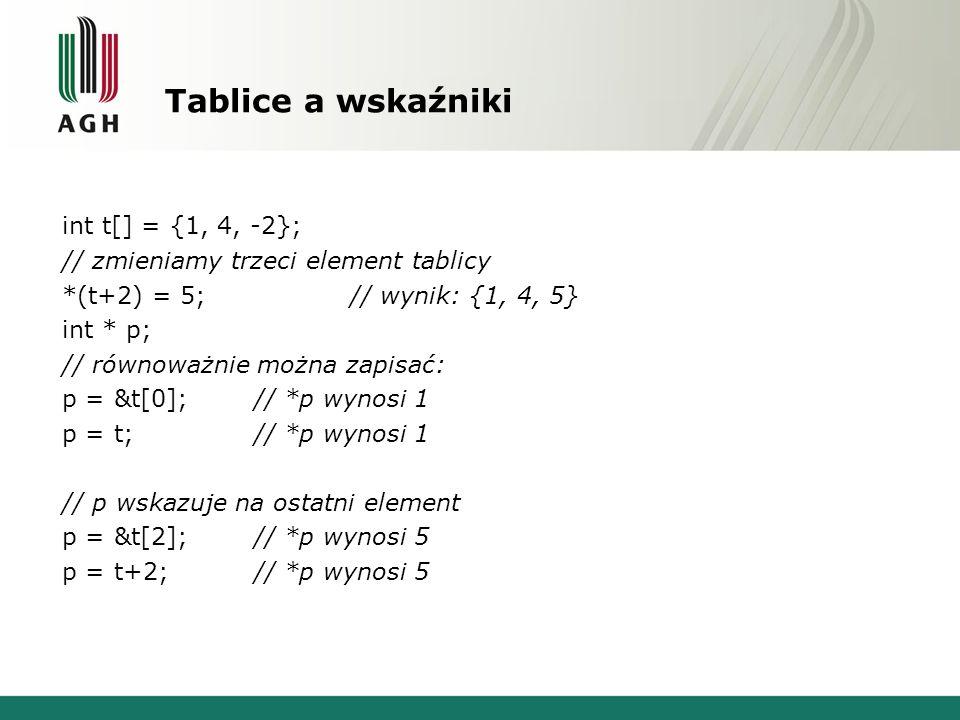 Tablice a wskaźniki