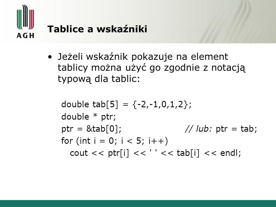 Tablice a wskaźniki Jeżeli wskaźnik pokazuje na element tablicy można użyć go zgodnie z notacją typową dla tablic: