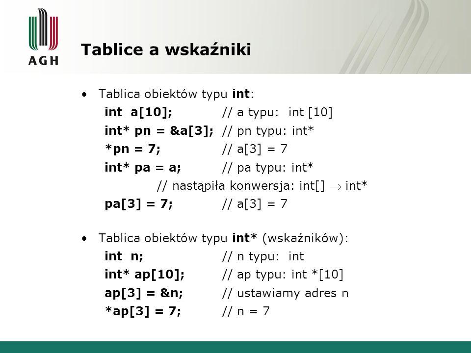 Tablice a wskaźniki Tablica obiektów typu int: