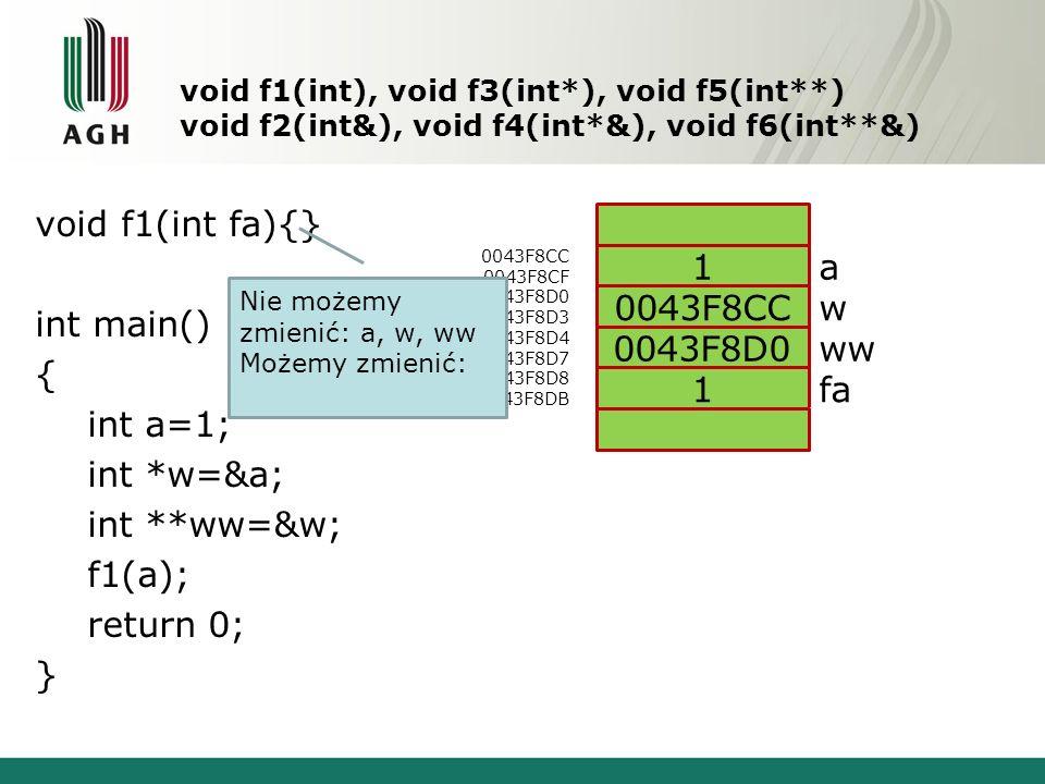 void f1(int fa){} int main() { int a=1; int *w=&a; int **ww=&w; f1(a);
