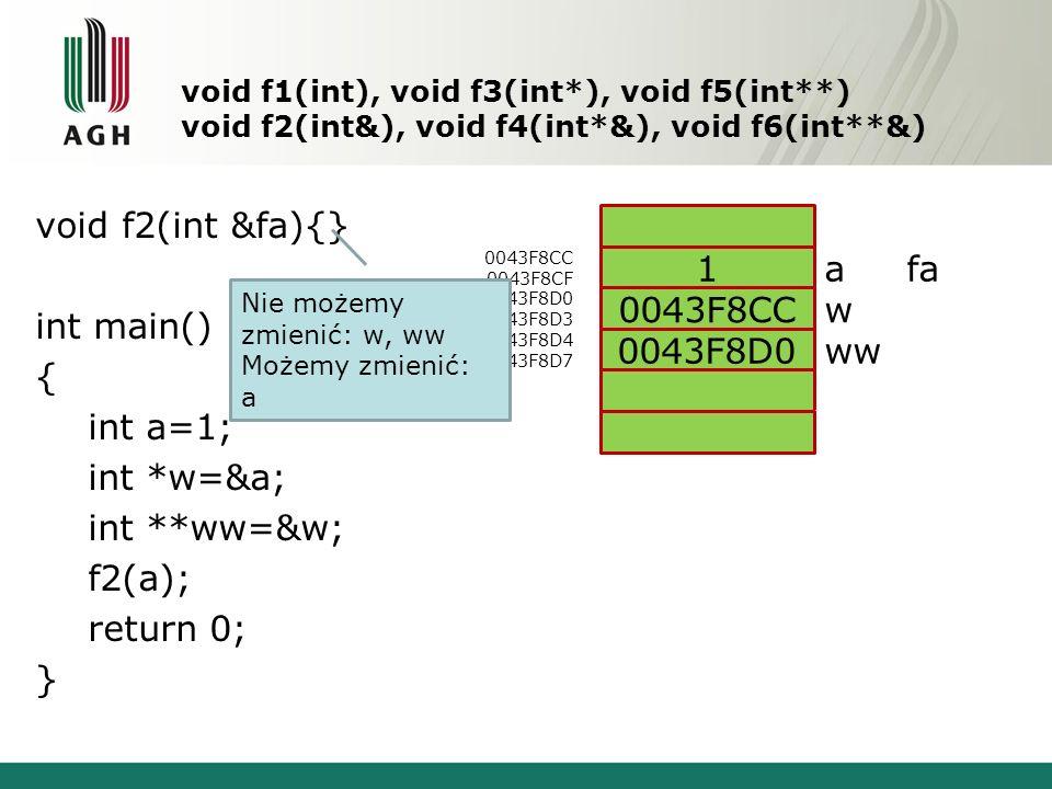 void f2(int &fa){} int main() { int a=1; int *w=&a; int **ww=&w;