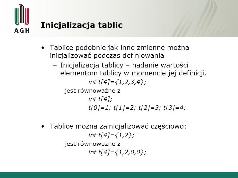 Inicjalizacja tablic Tablice podobnie jak inne zmienne można inicjalizować podczas definiowania.
