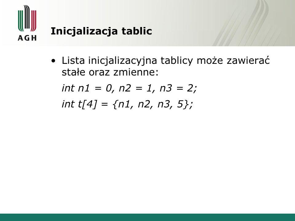Inicjalizacja tablic Lista inicjalizacyjna tablicy może zawierać stałe oraz zmienne: int n1 = 0, n2 = 1, n3 = 2;