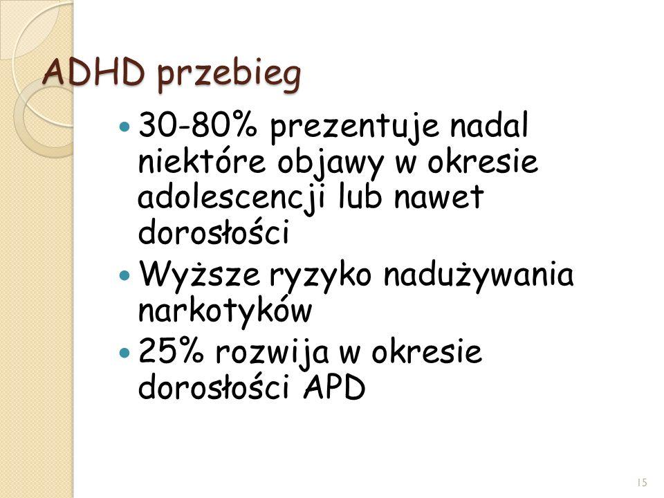 ADHD przebieg 30-80% prezentuje nadal niektóre objawy w okresie adolescencji lub nawet dorosłości.