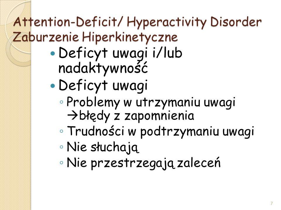 Attention-Deficit/ Hyperactivity Disorder Zaburzenie Hiperkinetyczne