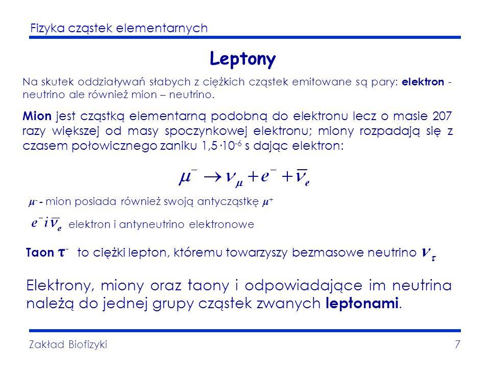 Leptony Na skutek oddziaływań słabych z ciężkich cząstek emitowane są pary: elektron - neutrino ale również mion – neutrino.