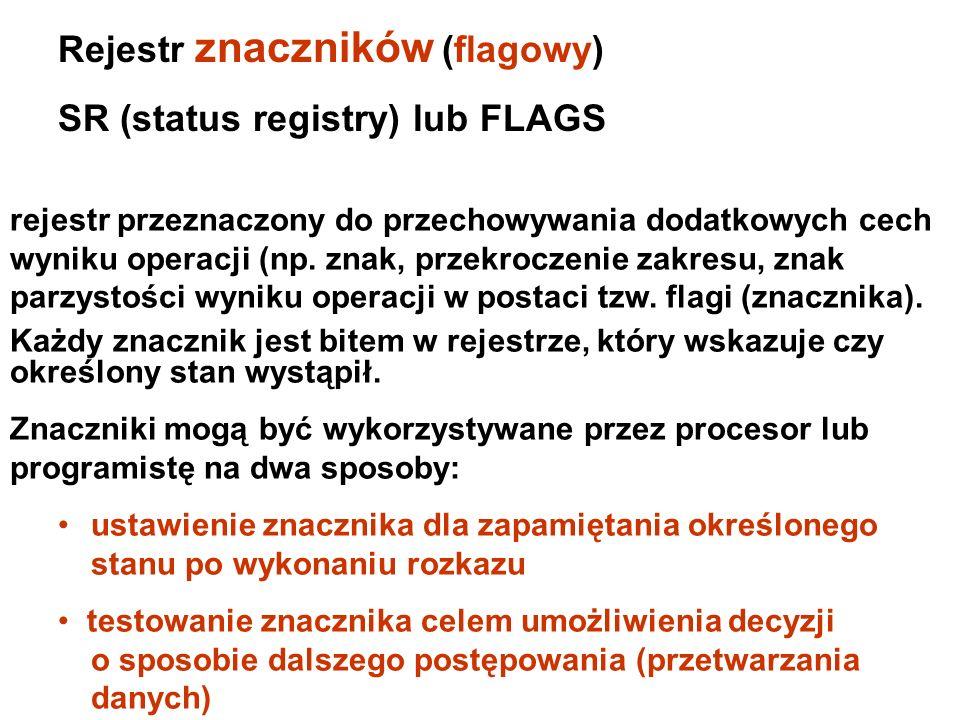 Rejestr znaczników (flagowy) SR (status registry) lub FLAGS