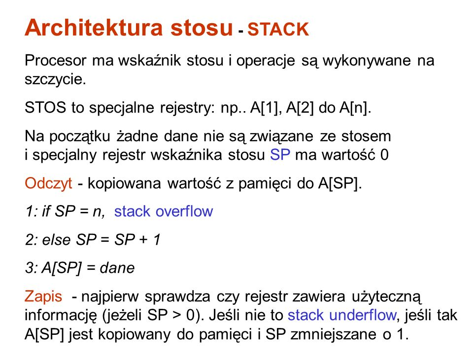 Architektura stosu - STACK