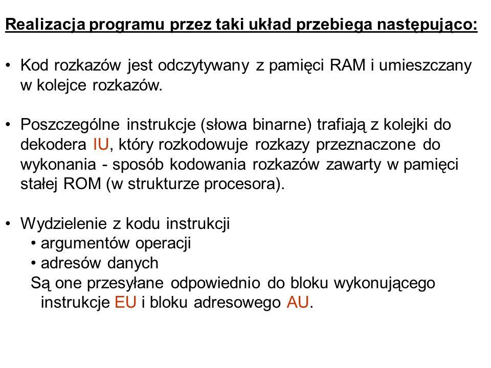 Realizacja programu przez taki układ przebiega następująco: