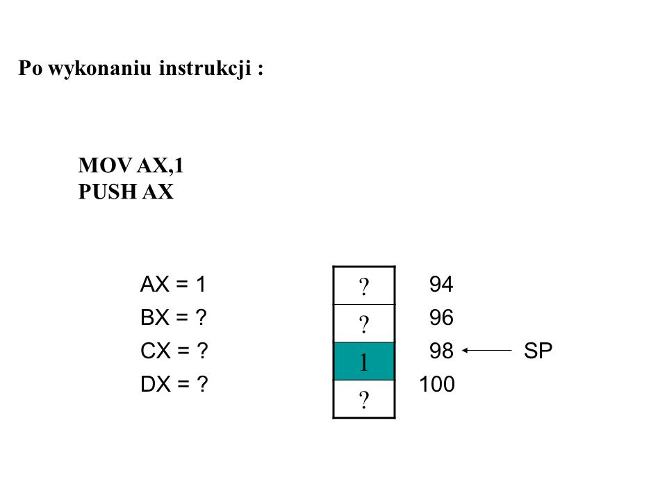 1 Po wykonaniu instrukcji : MOV AX,1 PUSH AX AX = 1 94 BX = 96