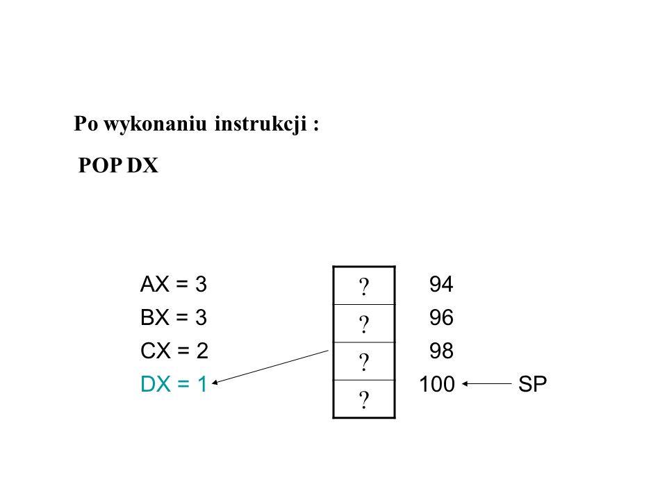 Po wykonaniu instrukcji : POP DX AX = 3 94 BX = 3 96 CX = 2 98