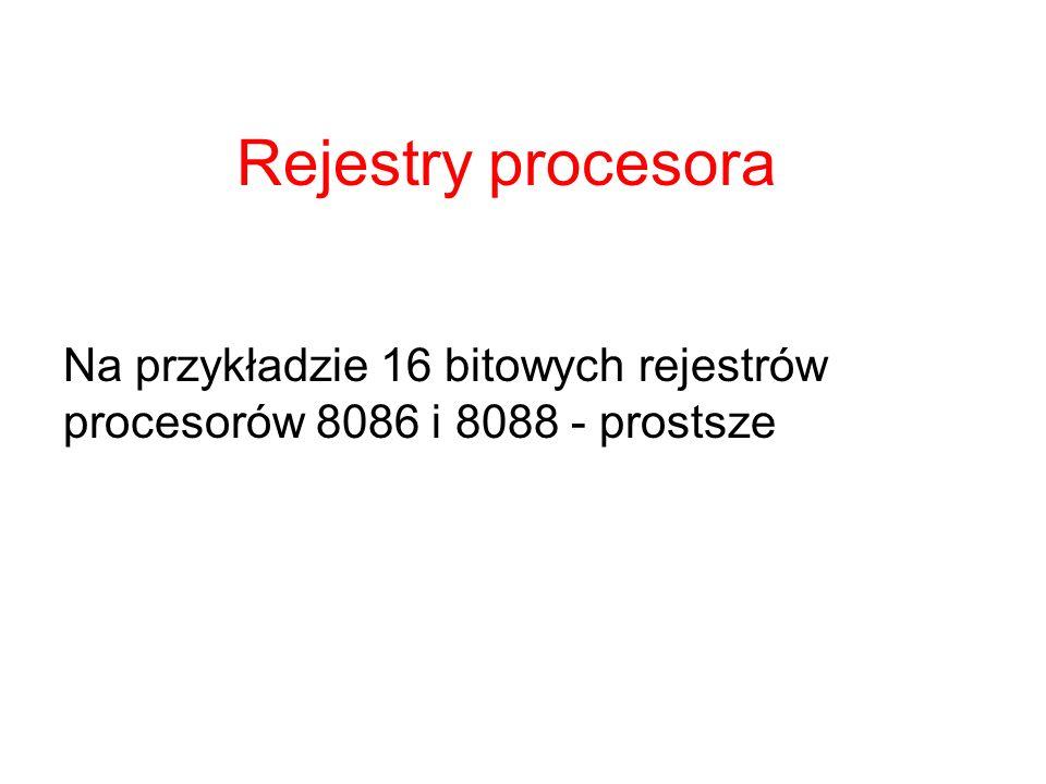 Rejestry procesora Na przykładzie 16 bitowych rejestrów procesorów 8086 i 8088 - prostsze