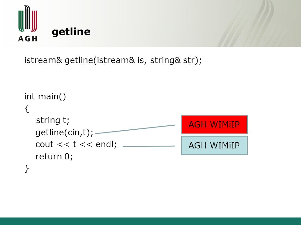 getline istream& getline(istream& is, string& str); int main() { string t; getline(cin,t); cout << t << endl; return 0; }