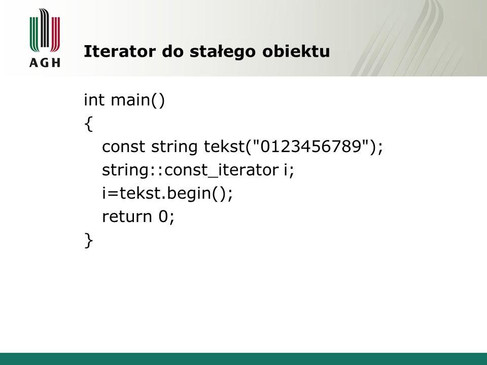 Iterator do stałego obiektu