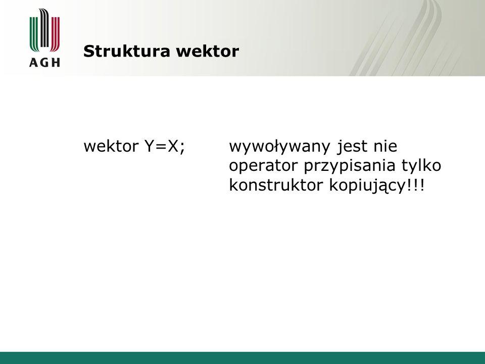 Struktura wektor wektor Y=X; wywoływany jest nie operator przypisania tylko konstruktor kopiujący!!!