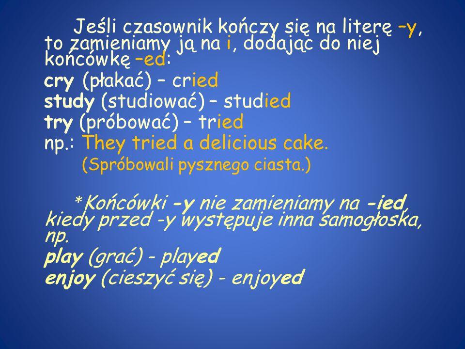 Jeśli czasownik kończy się na literę –y, to zamieniamy ją na i, dodając do niej końcówkę –ed: cry (płakać) – cried study (studiować) – studied try (próbować) – tried np.: They tried a delicious cake.