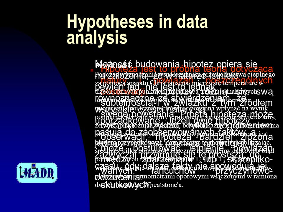Hypotheses in data analysis