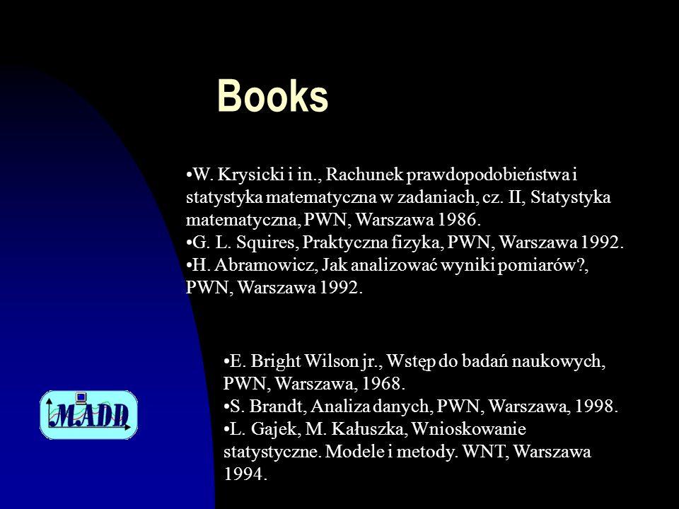 Books W. Krysicki i in., Rachunek prawdopodobieństwa i statystyka matematyczna w zadaniach, cz. II, Statystyka matematyczna, PWN, Warszawa 1986.