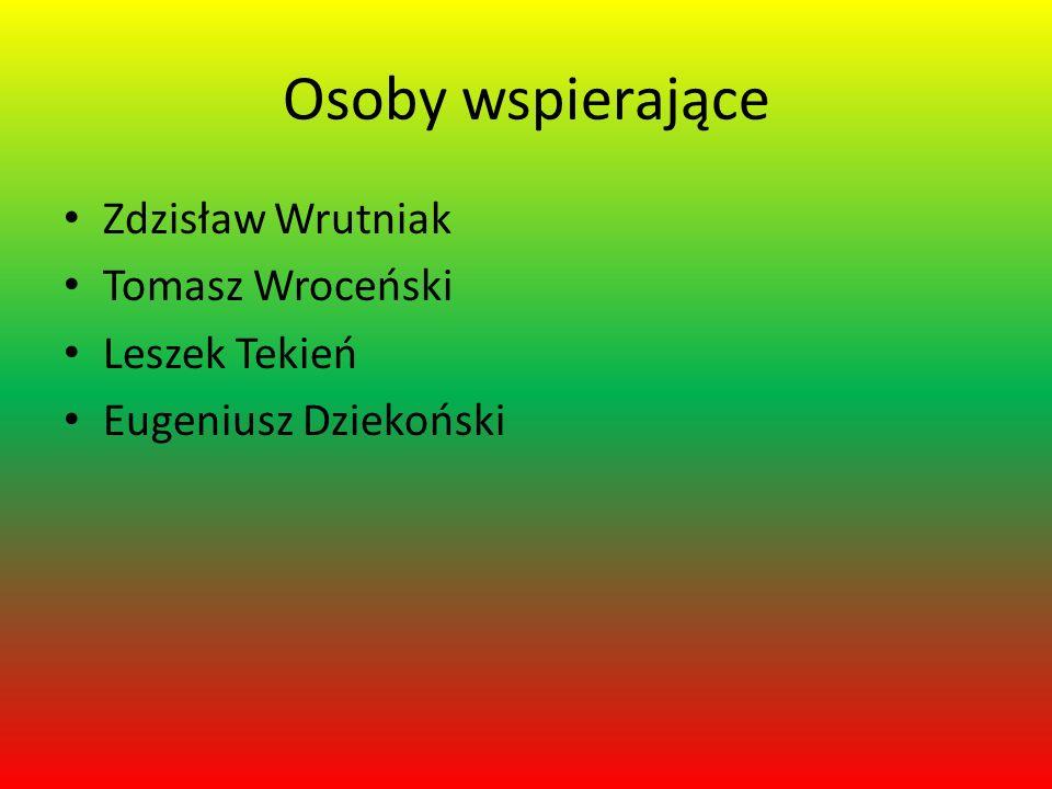 Osoby wspierające Zdzisław Wrutniak Tomasz Wroceński Leszek Tekień