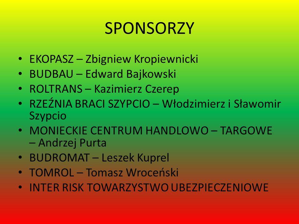 SPONSORZY EKOPASZ – Zbigniew Kropiewnicki BUDBAU – Edward Bajkowski