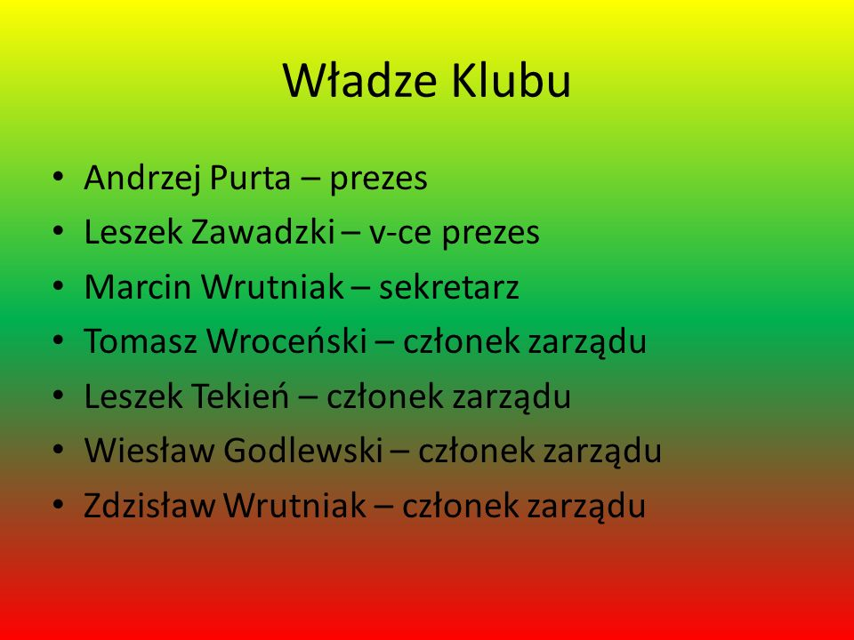 Władze Klubu Andrzej Purta – prezes Leszek Zawadzki – v-ce prezes