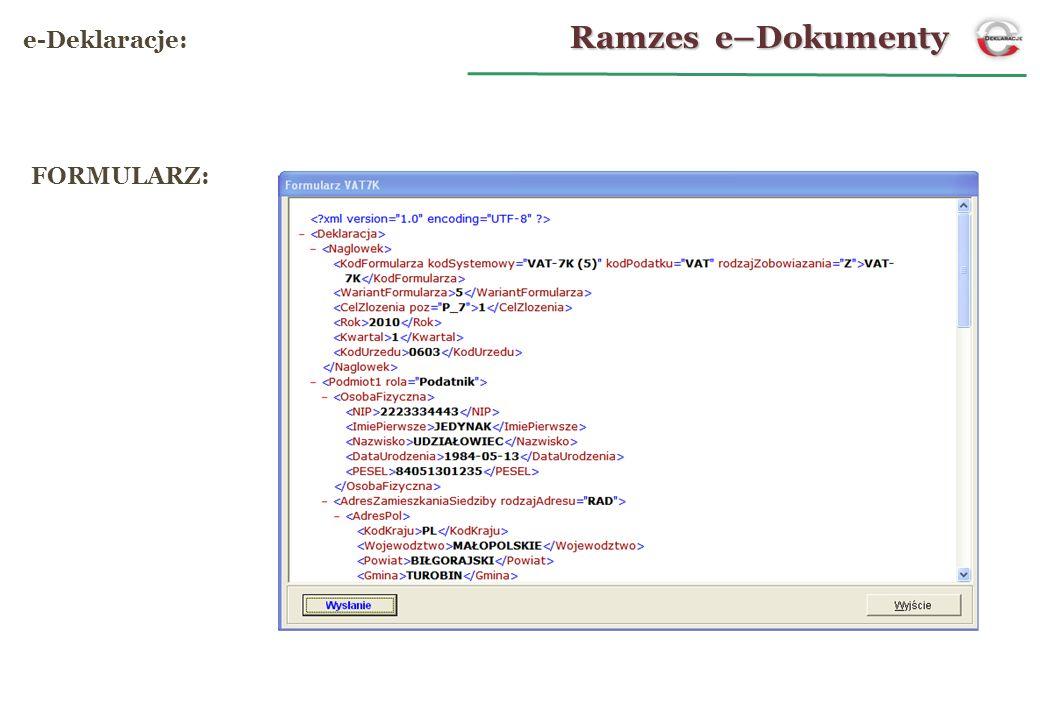 Ramzes e–Dokumenty e-Deklaracje: FORMULARZ: 14