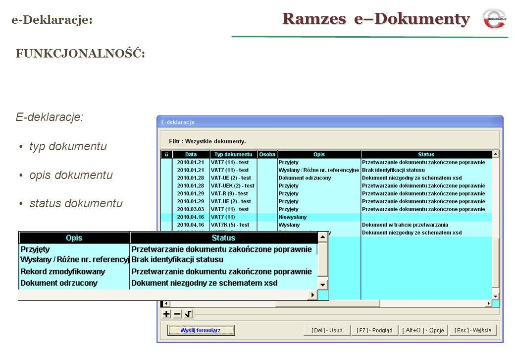 Ramzes e–Dokumenty e-Deklaracje: FUNKCJONALNOŚĆ: E-deklaracje:
