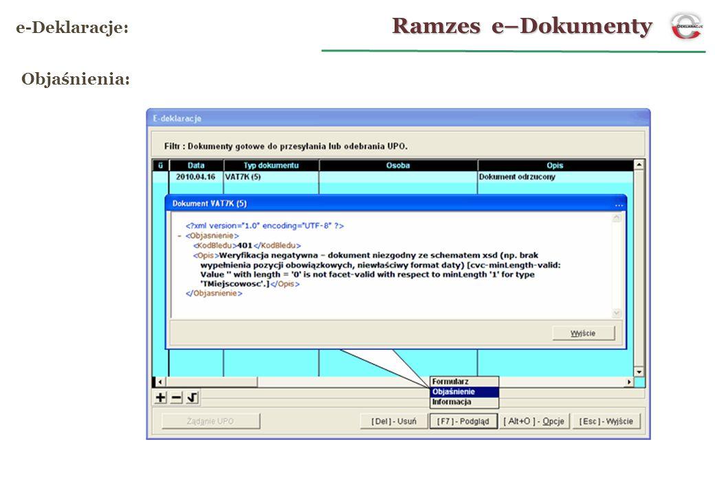 Ramzes e–Dokumenty e-Deklaracje: Objaśnienia: 20