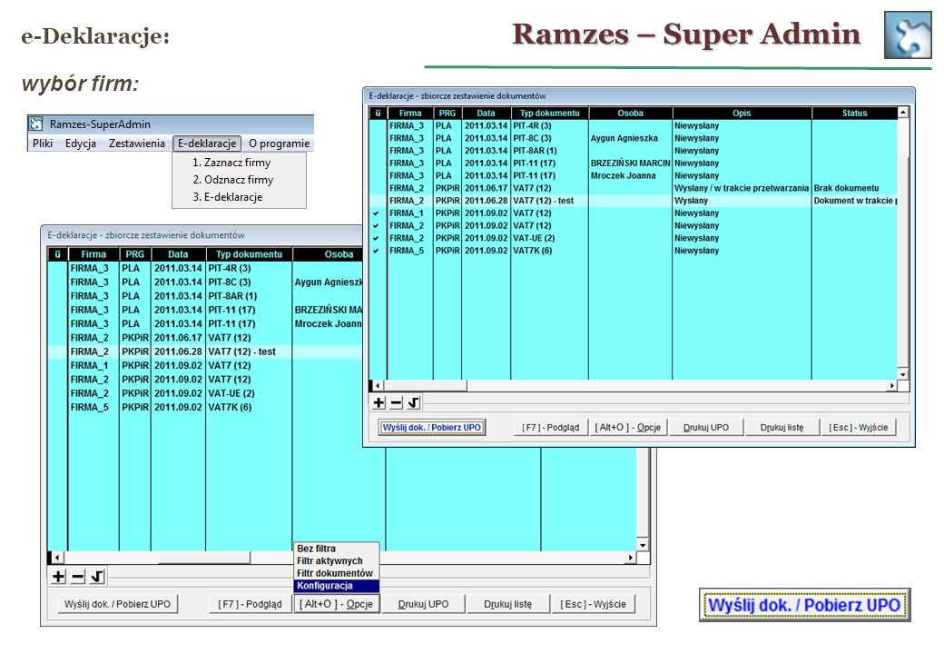 Ramzes – Super Admin e-Deklaracje: wybór firm: 24