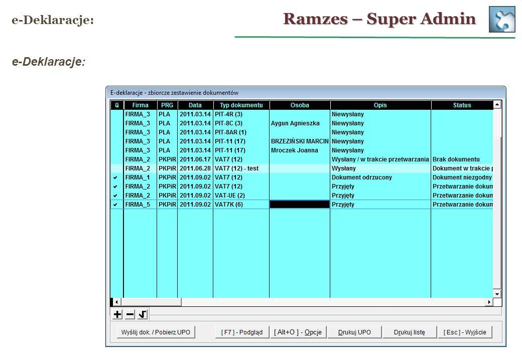 Ramzes – Super Admin e-Deklaracje: e-Deklaracje: 26