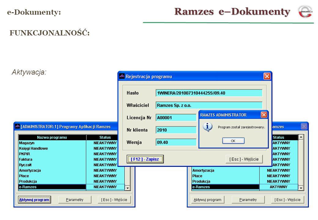 Ramzes e–Dokumenty e-Dokumenty: FUNKCJONALNOŚĆ: Aktywacja: 6