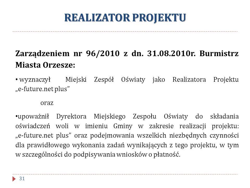 REALIZATOR PROJEKTU Zarządzeniem nr 96/2010 z dn. 31.08.2010r. Burmistrz Miasta Orzesze: