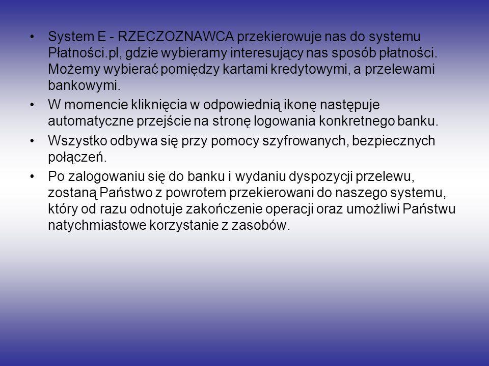 System E - RZECZOZNAWCA przekierowuje nas do systemu Płatności