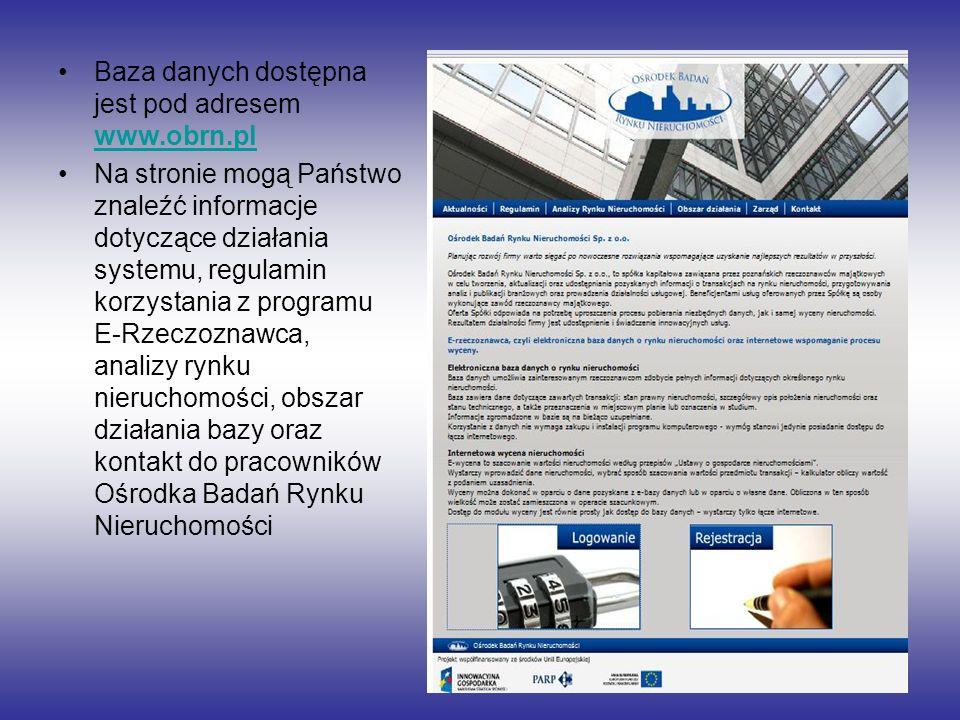Baza danych dostępna jest pod adresem www.obrn.pl