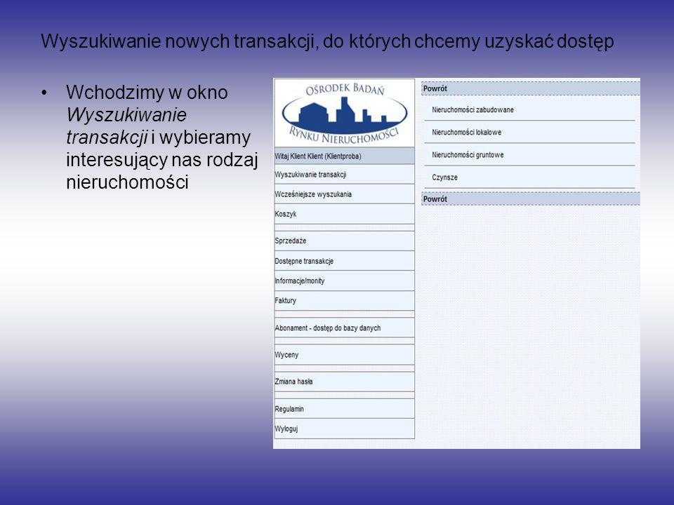 Wyszukiwanie nowych transakcji, do których chcemy uzyskać dostęp