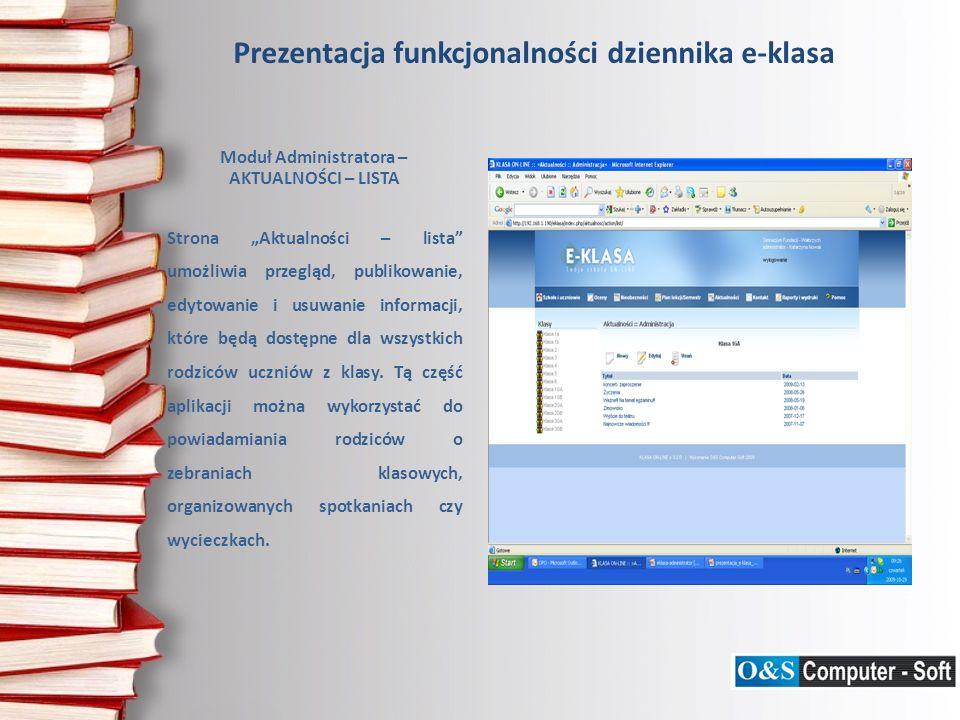 Prezentacja funkcjonalności dziennika e-klasa