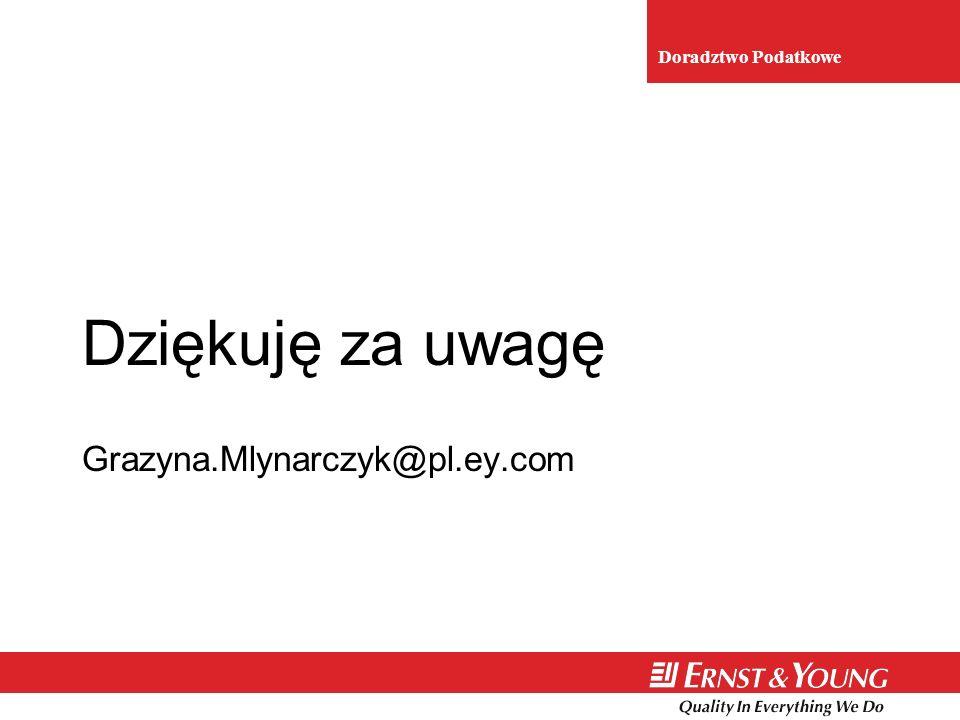 Dziękuję za uwagę Grazyna.Mlynarczyk@pl.ey.com