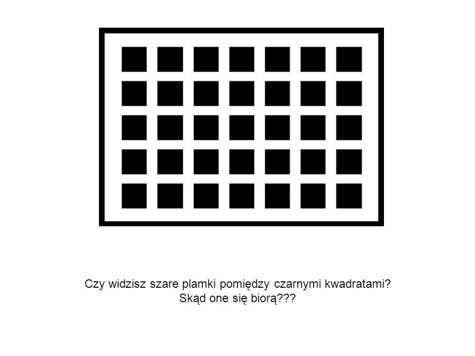 Czy widzisz szare plamki pomiędzy czarnymi kwadratami