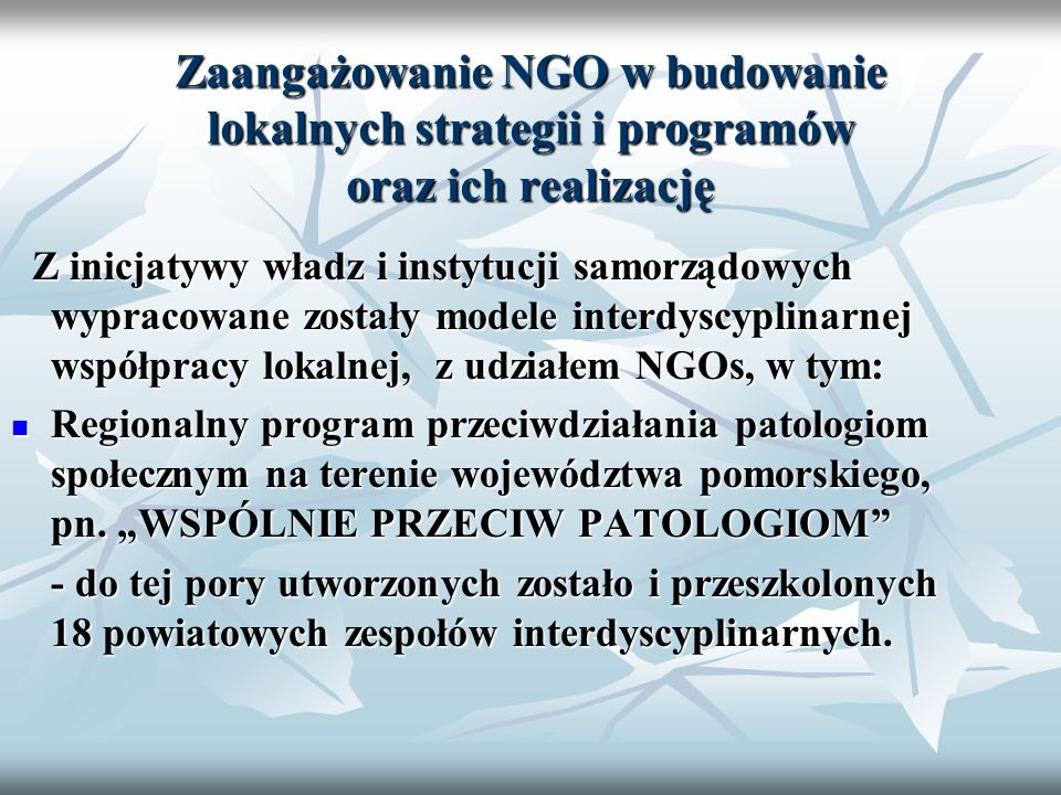 Zaangażowanie NGO w budowanie lokalnych strategii i programów oraz ich realizację