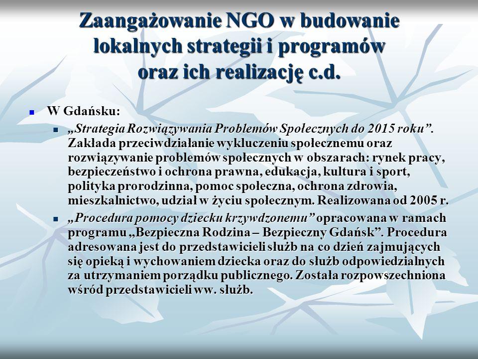 Zaangażowanie NGO w budowanie lokalnych strategii i programów oraz ich realizację c.d.