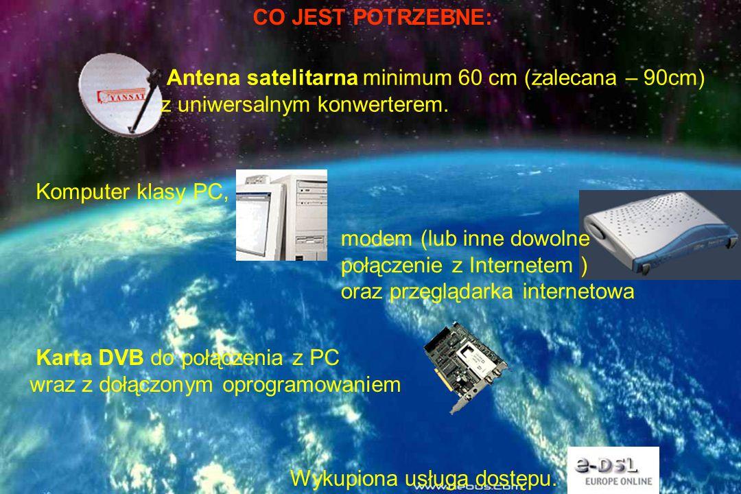 CO JEST POTRZEBNE: Antena satelitarna minimum 60 cm (zalecana – 90cm) z uniwersalnym konwerterem. Komputer klasy PC,