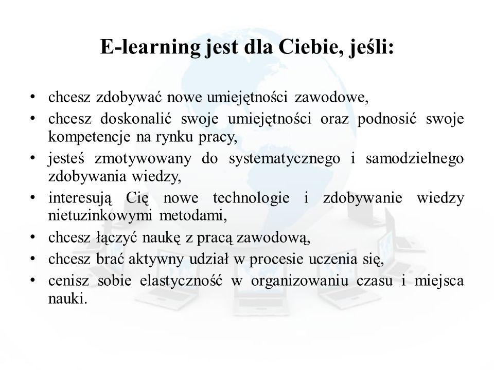 E-learning jest dla Ciebie, jeśli: