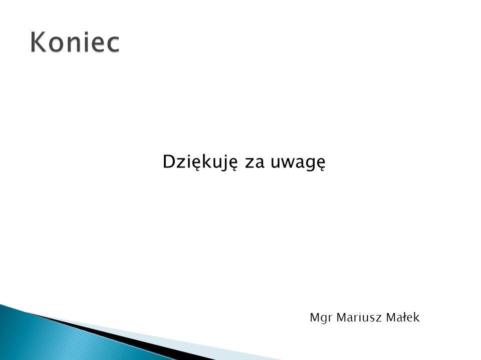 Koniec Dziękuję za uwagę Mgr Mariusz Małek