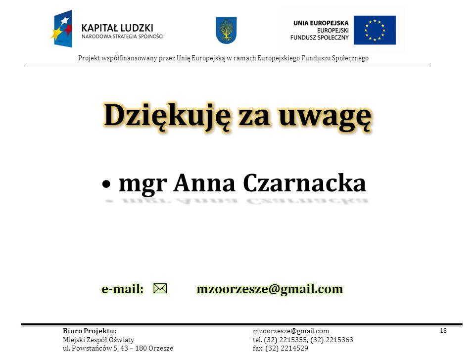 Dziękuję za uwagę mgr Anna Czarnacka e-mail:  mzoorzesze@gmail.com